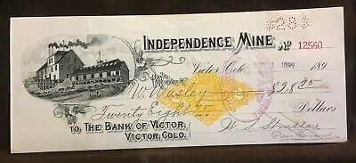 STRATTON'S INDEPENDENCE MINE revenue imprinted check Victor COLORADO mining 1899