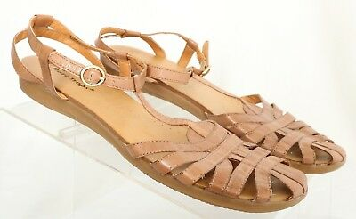 680101a4497f8 Bare Traps Ellary T-Strap Brown Closed Toe Ankle Strap Sandals Women s US  8.5M