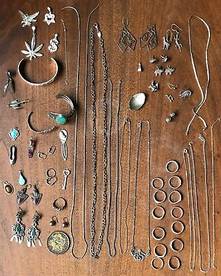 Mixed Lot of Sterling Silver 925 Jewelry Some Wearable MOSTLY Scrap 260 Grams