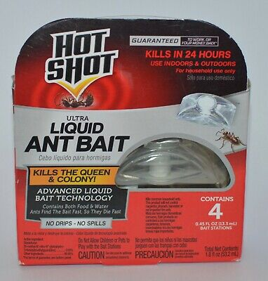 Hot Shot Ultra Liquid Ant Bait 4 Stations Traps Kills Queen Advanced Out Indoor