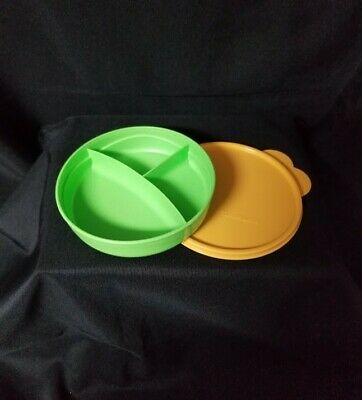 Tupperware Child's Divided Feeding Dish. Green. New!
