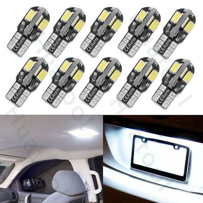 10x T10 194 8-SMD Canbus LED Interior License Plate Lights Car Side Wedge Bulbs