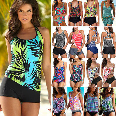 Womens Two Piece Push Up Padded Tankini Bikini Swimsuit Bathing Suit Swimwear O