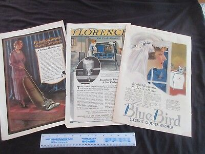 1918/20 Old Magazine Print Ads Washer~Cook Stove~Vacuum + Lot Of 3 Pages