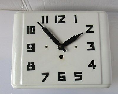 Wonderful White Art Deco Ceramic Wall Clock from UNKNOWN MAKER with Original Key