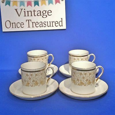 Royal Tuscan 4 x Gold Coffee Cups + Saucers - Vintage 1960s Wedgwood VGC