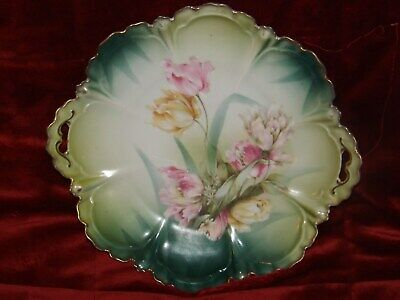"""Large 11"""" RS Prussia Germany China Flower Pattern Bowl Plate Open Handles"""