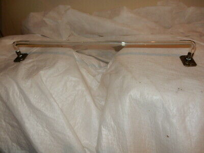 Clear Glass Towel Bar Bent ends w/ Plated Nickel Over Metal Ends