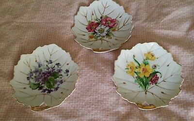 Set of Three Tidbit Plates Floral with Gold Trim