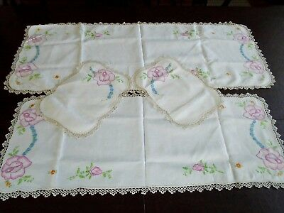 Antique Hand Embroidered Linen & handmade Tatting lace table Runners set 4pcs