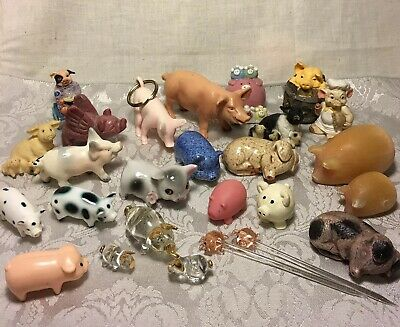 Pig Collectible Figurines Lot Of 26 Animals Miniatures