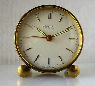 Beautiful Quality Royal Blue and Brass Alarm Clock from LOOPING – 11 Jewels