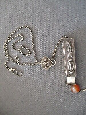 Antique Chinese-Silver Chatelaine Needle Case with Carnelian Bead Necklace