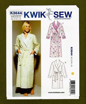 Misses Bathrobe   Belt Sewing Pattern (Sizes XS-XL) Kwik Sew Pattern 3644 19702610c