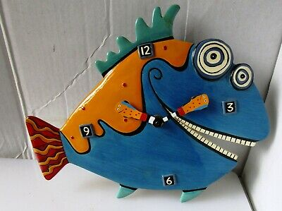 Neat and Colourful Ceramic Fish Wall Clock from ALLEN DESIGNS