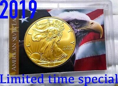 2019 American Silver Eagle , 1oz .999 pure Silver Coin in case , 24k Gold Gilded