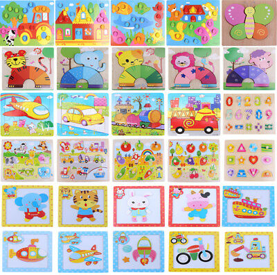 Wooden Colorful Animal Jigsaw Puzzle Educational Toy For Preschool Toddler Kids