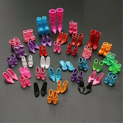 120pcs 60 Pairs Mixed Different High Heel Shoes Boots for Barbie Doll Dresses