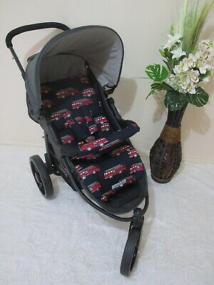 Pram liner set,universal,100% cotton fabric-Firetrucks-Funky babyz,SALE*