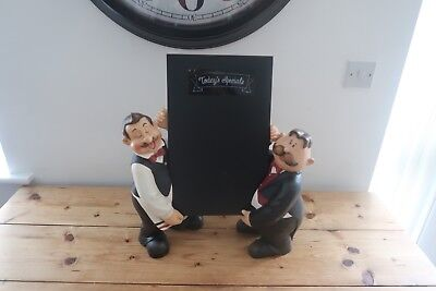 """2 X Waiter Statue Advertising Figure With Menu Board 20"""" Tall 50cm Rare Resin"""