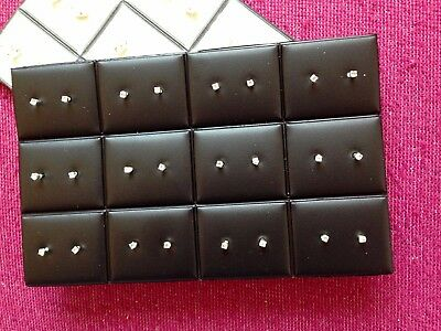 JOBLOT-12 pairs of o,2cm crystal diamante stud earrings.Silver plated.UK made.