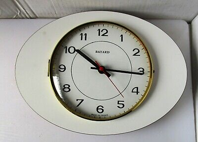 Nice White Timber Battery Operated Wall Clock from BAYARD – Not Working