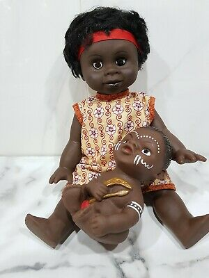 "Australian Aboriginal Doll Girl Yellow Dress 35cm or 13"" and Baby 15cm"