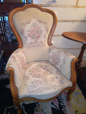 Vintage French Needlepoint Tapestry Louis XV Chair