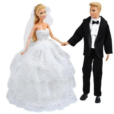 Princess Wedding Gown Dress Clothes + Formal Suit Outfit For Ken Doll S