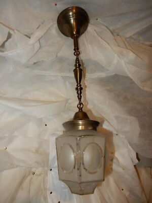 Mission Arts & Crafts Brass Pendant Light Fixture w  Frosted Glass Shade