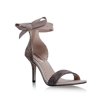 Kurt Geiger Miss KG Size 4 37 Nude Snake Print Bow High Heel Sandals
