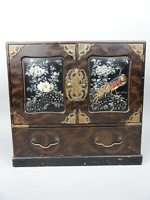 Antique Japanese lacquer and mother of pearl cabinet box
