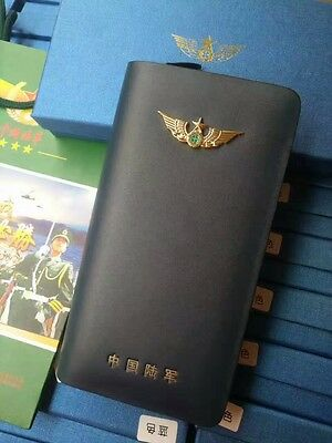 15's series China PLA Army Badge Officer Genuine Leather Wallet,A