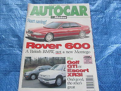 AUTOCAR & MOTOR MAGAZINE MARCH 1992 / GOLF GTI Vs ESCORT XR3I ,ROVER'S BMW  #bk1
