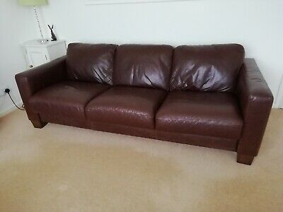 Very Good Quality Leather Sofa Large Three Seater Brown Condition