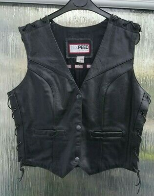 Ladies Texpeed Leather Motorcycle Biker Waistcoat Size 12 Laced Side & Shoulder