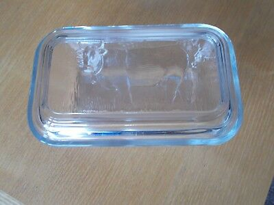 Vintage Arcoroc  Ribbed Glass Butter Dish With Cow Design Lid- France