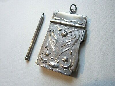 chatelaine aide memoire dance card edwardian art nouveau pad propelling pencil