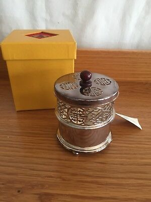 SHANGHAI TANG Sterling Silver Candle Holder With Silver Lattice Work & 2 Candles