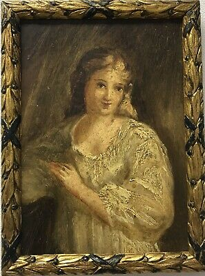 Victorian Antique 19th Century oil painting on board portrait of a young lady