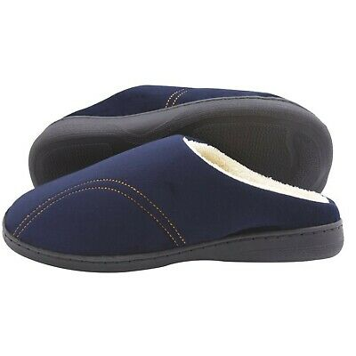 Mens Memory Foam Slippers -Navy Blue Sizes Small Medium Large