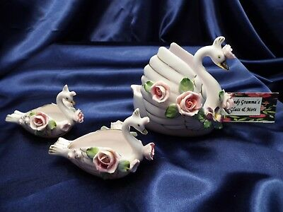 Vintage Lefton Pink Rose Flower Dish Planter Swan Figurine With Babies 3 Pcs Set