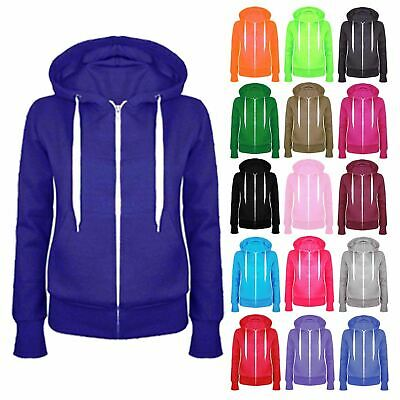 New Boys Girls Plain Coloured Hoodie Kids Hooded Fleece Sweatshirt Hoody Jacket