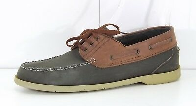 CLIFFORD JAMES Dark Grey Brown REAL LEATHER Mens Deck Boat Shoes size UK 10