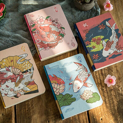 """Koi Fish"" 1pc Cute Monthly Planner Notebook Study Journal Diary Stationery Gift"