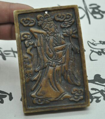 Chinese ancient old hard jade hand-carved pendant necklace~ Lotus Fairy  M07