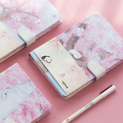 """Sakura Cat"" 1pc Journal Diary Cute Lined Planner Hard Cover Notebook Notepad"