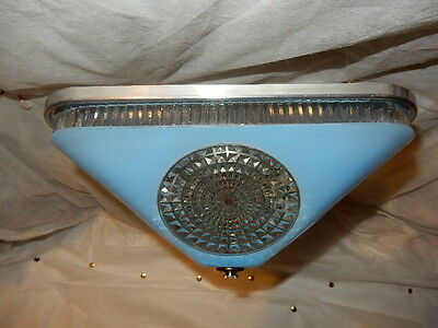 Art Deco BLUE Square Glass Light Fixture Ceiling Chandelier 1940s-----Pr. Avail.