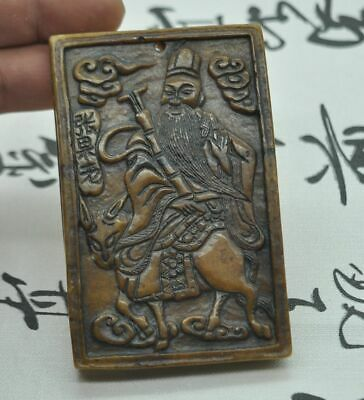 Chinese ancient old hard jade hand-carved pendant necklace~Zhang Guolao  M07