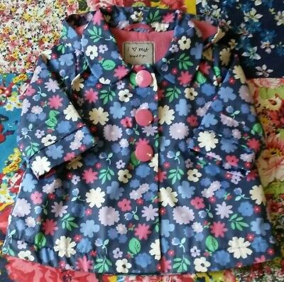 Next 3-6 Girls Floral Raincoat Jacket Fleece Lined Hooded